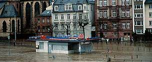 Flooding of river Main Inundations caused by heavy rain and destruction of floodplain. Frankfurt am Main, Germany.