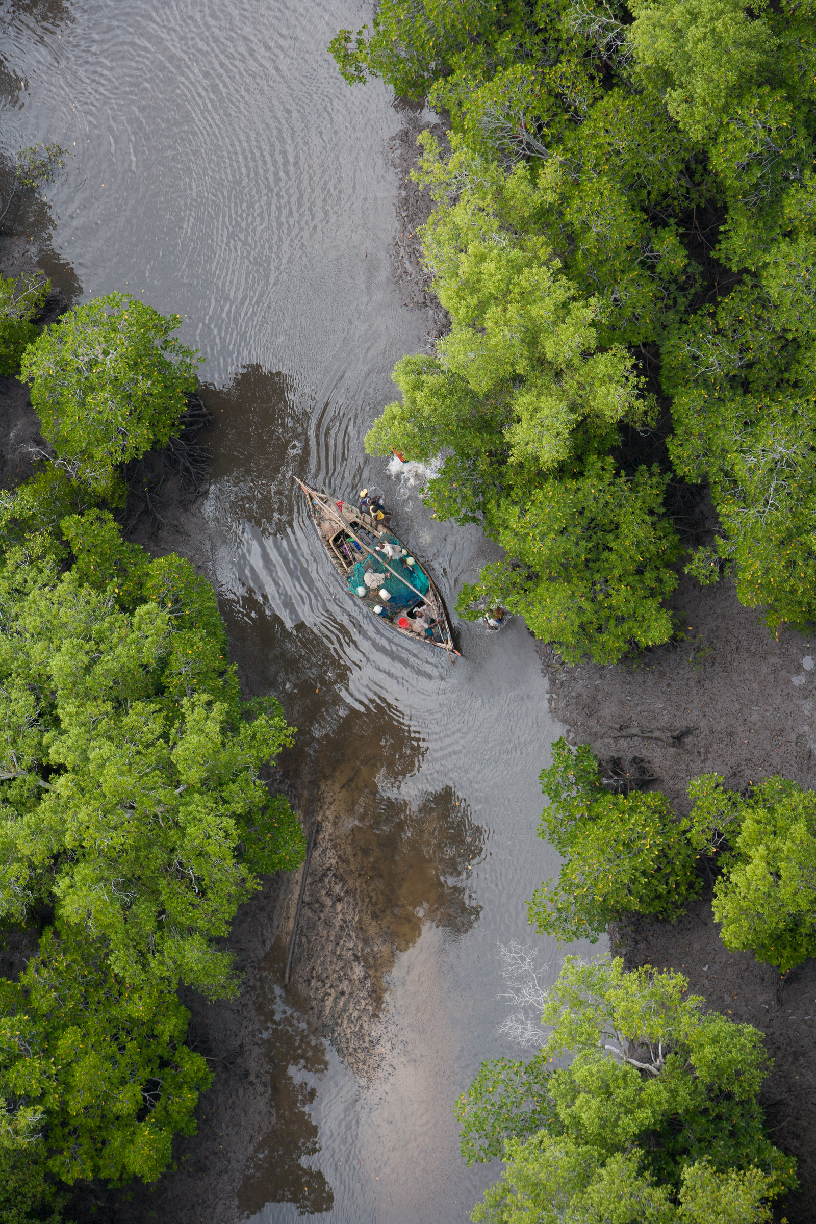 Arial view on river with small boat - Selous