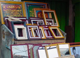 Picture Frames of mainly Ramin timber on sale in a Bandung Market Street.