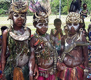 Village girls in traditional dress at the Sepik Crocodile Festival. Ambunti, Papua New Guinea.
