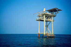 Offshore oil & gas development, one of many threats to marine development. Texas, Gulf of Mexico, USA.