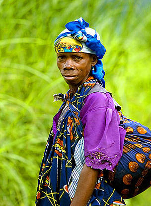 A local woman on a road leading to Virunga National Park, near the provincial capital of Goma, in the Democratic Republic of Congo.